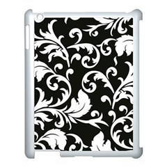 Black And White Floral Patterns Apple Ipad 3/4 Case (white)
