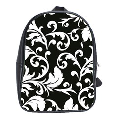 Black And White Floral Patterns School Bags (XL)