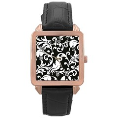Black And White Floral Patterns Rose Gold Leather Watch