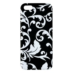 Black And White Floral Patterns Apple Iphone 5 Premium Hardshell Case