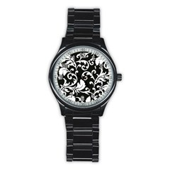 Black And White Floral Patterns Stainless Steel Round Watch