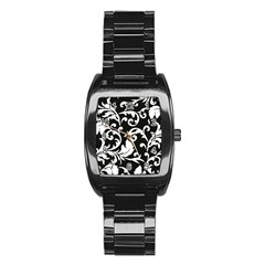 Black And White Floral Patterns Stainless Steel Barrel Watch