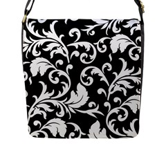 Black And White Floral Patterns Flap Messenger Bag (l)