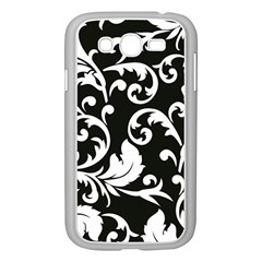 Black And White Floral Patterns Samsung Galaxy Grand Duos I9082 Case (white)