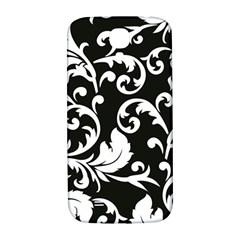 Black And White Floral Patterns Samsung Galaxy S4 I9500/i9505  Hardshell Back Case
