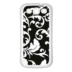 Black And White Floral Patterns Samsung Galaxy S3 Back Case (white)