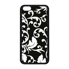 Black And White Floral Patterns Apple iPhone 5C Seamless Case (Black)