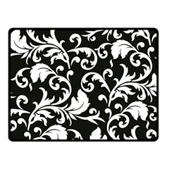 Black And White Floral Patterns Double Sided Fleece Blanket (small)