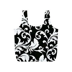 Black And White Floral Patterns Full Print Recycle Bags (S)
