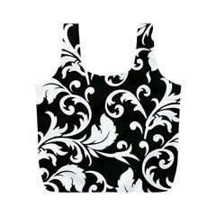 Black And White Floral Patterns Full Print Recycle Bags (m)