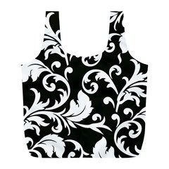 Black And White Floral Patterns Full Print Recycle Bags (l)