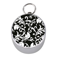 Black And White Floral Patterns Mini Silver Compasses