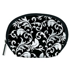 Black And White Floral Patterns Accessory Pouches (medium)