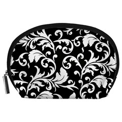 Black And White Floral Patterns Accessory Pouches (large)
