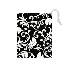 Black And White Floral Patterns Drawstring Pouches (medium)