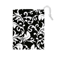 Black And White Floral Patterns Drawstring Pouches (large)