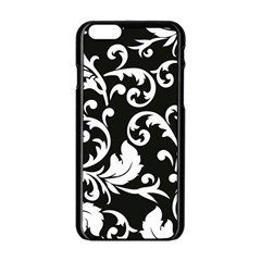 Black And White Floral Patterns Apple Iphone 6/6s Black Enamel Case