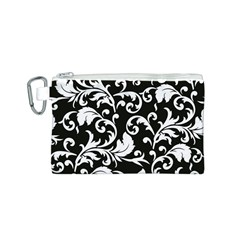 Black And White Floral Patterns Canvas Cosmetic Bag (s)