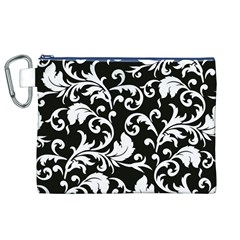 Black And White Floral Patterns Canvas Cosmetic Bag (XL)