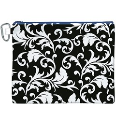 Black And White Floral Patterns Canvas Cosmetic Bag (XXXL)