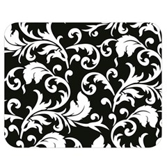 Black And White Floral Patterns Double Sided Flano Blanket (medium)