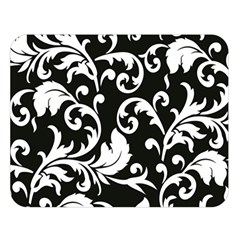 Black And White Floral Patterns Double Sided Flano Blanket (large)