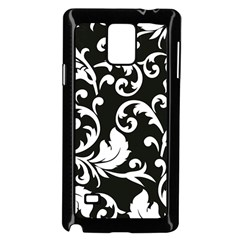 Black And White Floral Patterns Samsung Galaxy Note 4 Case (black)