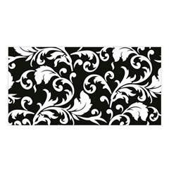 Black And White Floral Patterns Satin Shawl
