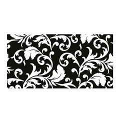 Black And White Floral Patterns Satin Wrap