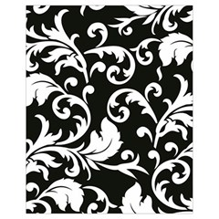 Black And White Floral Patterns Drawstring Bag (small)