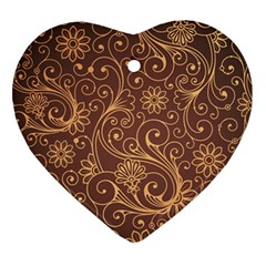 Gold And Brown Background Patterns Ornament (heart)