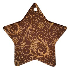 Gold And Brown Background Patterns Ornament (star)