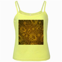 Gold And Brown Background Patterns Yellow Spaghetti Tank