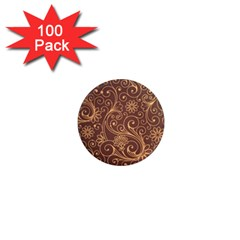 Gold And Brown Background Patterns 1  Mini Magnets (100 Pack)