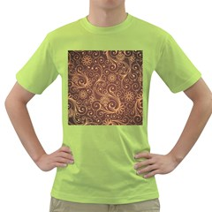 Gold And Brown Background Patterns Green T Shirt