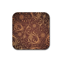 Gold And Brown Background Patterns Rubber Coaster (square)