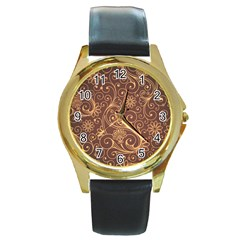 Gold And Brown Background Patterns Round Gold Metal Watch