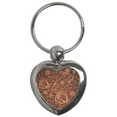 Gold And Brown Background Patterns Key Chains (heart)
