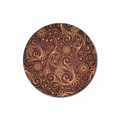 Gold And Brown Background Patterns Rubber Coaster (round)