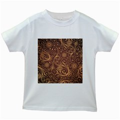 Gold And Brown Background Patterns Kids White T-Shirts