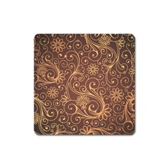 Gold And Brown Background Patterns Square Magnet