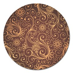 Gold And Brown Background Patterns Magnet 5  (round)