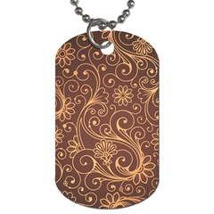Gold And Brown Background Patterns Dog Tag (One Side)