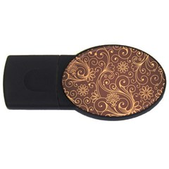 Gold And Brown Background Patterns Usb Flash Drive Oval (2 Gb)