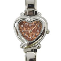 Gold And Brown Background Patterns Heart Italian Charm Watch