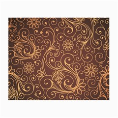 Gold And Brown Background Patterns Small Glasses Cloth