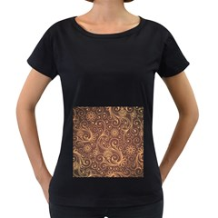 Gold And Brown Background Patterns Women s Loose Fit T Shirt (black)