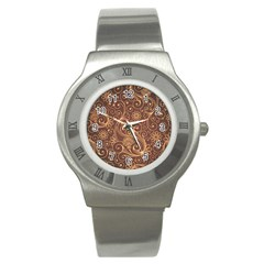 Gold And Brown Background Patterns Stainless Steel Watch