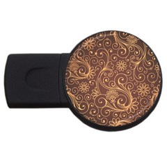 Gold And Brown Background Patterns USB Flash Drive Round (4 GB)