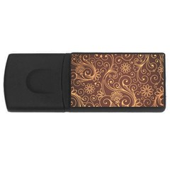 Gold And Brown Background Patterns USB Flash Drive Rectangular (4 GB)